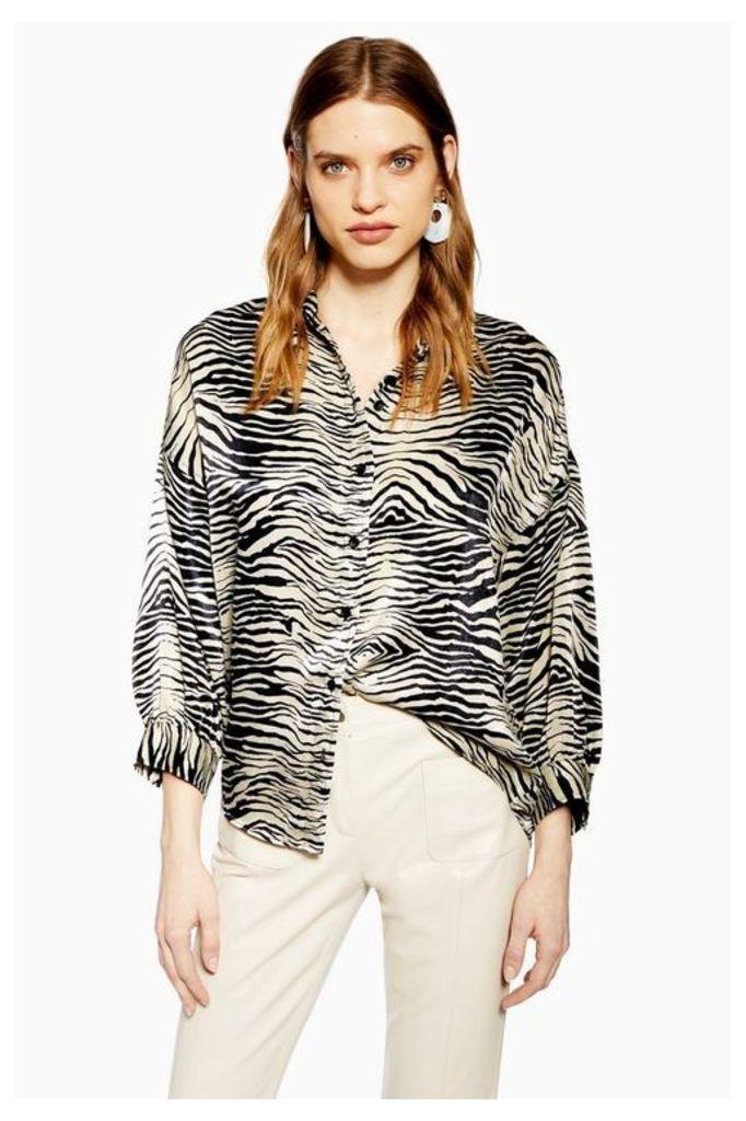Womens Zebra Print Shirt - Black, Black