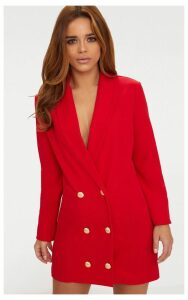 Petite Red Gold Button Oversized Blazer Dress, Red