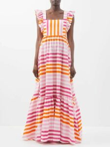 Melissa Odabash - Amelia Striped Cotton Mini Dress - Womens - Blue Stripe