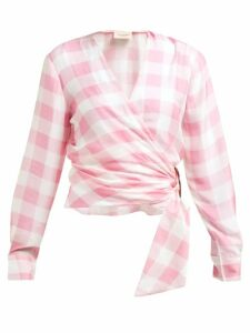 Adriana Degreas - Vichy Gingham Print Wrap Top - Womens - Pink