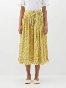 Adriana Degreas - High Rise Buttoned Crepe Midi Skirt - Womens - Ivory