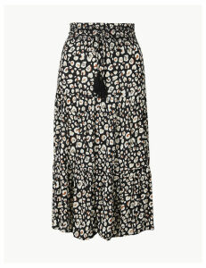 M&S Collection Animal Print Fit & Flare Midi Skirt