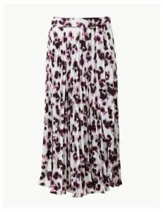 M&S Collection Animal Print Pleated Midi Skirt