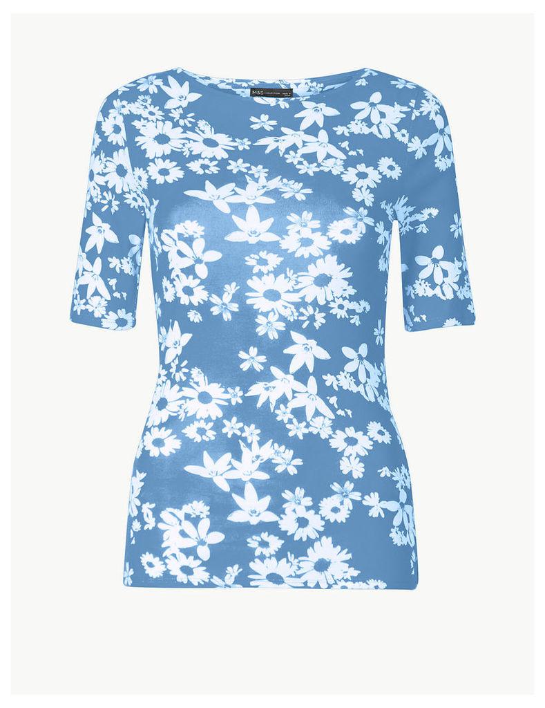 M&S Collection Pure Cotton Floral Regular Fit T-Shirt