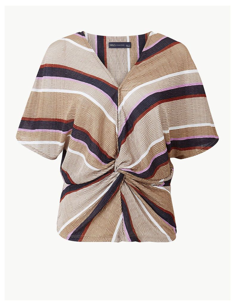 M&S Collection Striped V-Neck Short Sleeve Shell Top