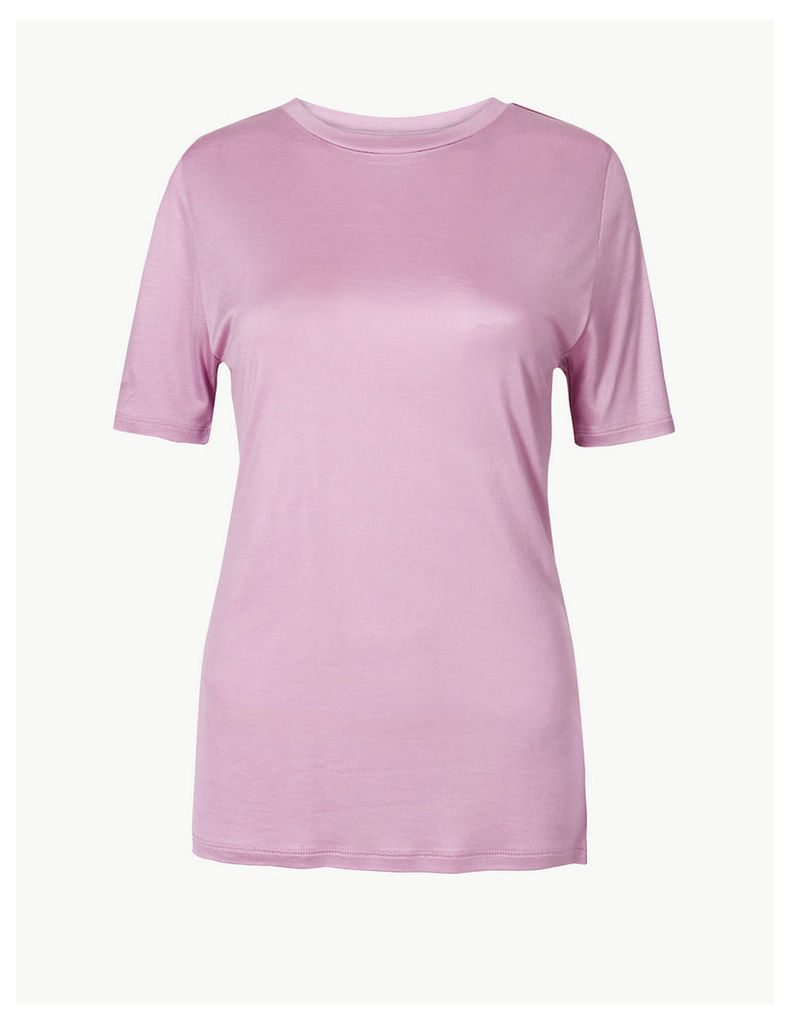 M&S Collection Round Neck Mercerised Short Sleeve T-Shirt
