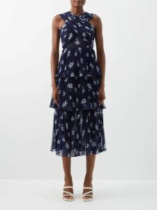 Fendi - Tiered Diamond Print Silk Gown - Womens - Brown Multi