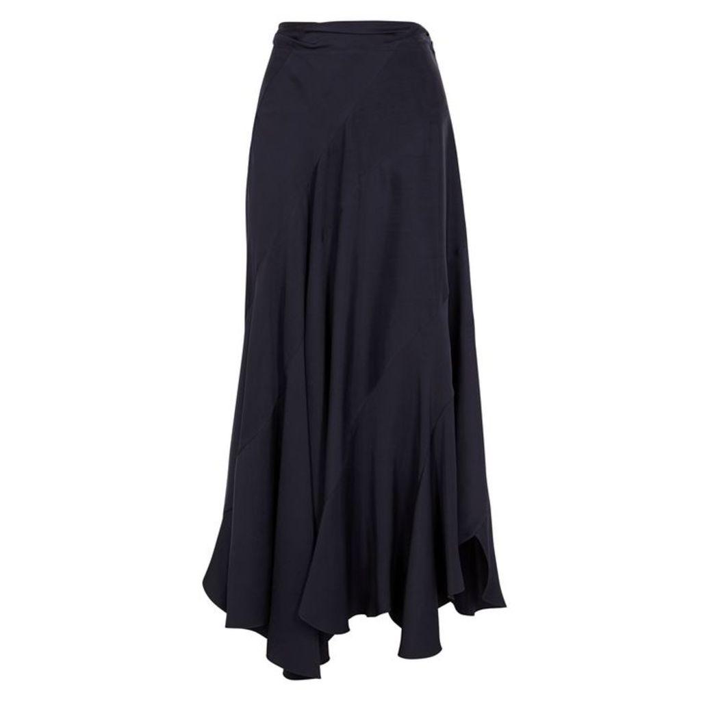 Chloé Navy Panelled Satin Skirt