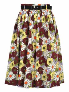 Prada Prada Belted Floral Skirt