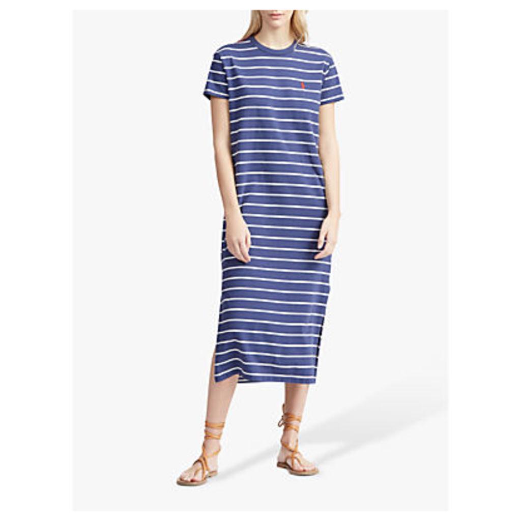 Polo Ralph Lauren Casual Stripe Midi Dress, Classic Navy/Herbal Milk