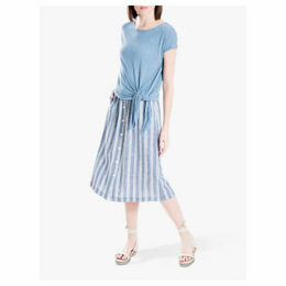 Max Studio Button Through Stripe Midi Linen Skirt, Blue/White