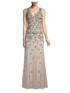 Beaded Floral Gown