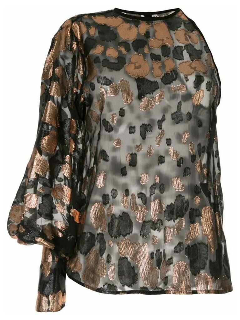 Petar Petrov Brady one-shoulder jacquard blouse - Black