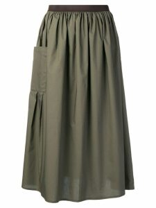 Roberto Collina gathered A-line skirt - Green