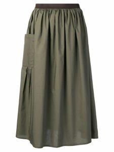 Roberto Collina gathered A-line skirt - Green