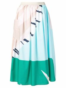 Roberto Collina printed gathered midi skirt - Blue