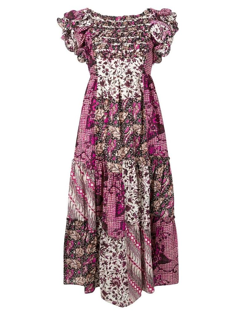 Ulla Johnson floral print patchwork dress - Pink