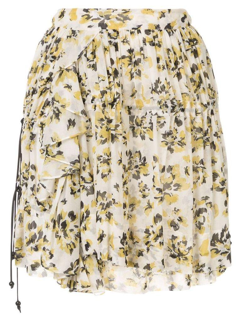 Dondup ruffled floral-print skirt - White