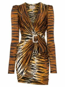 Alexandre Vauthier V-neck tiger print silk blend mini dress - Black
