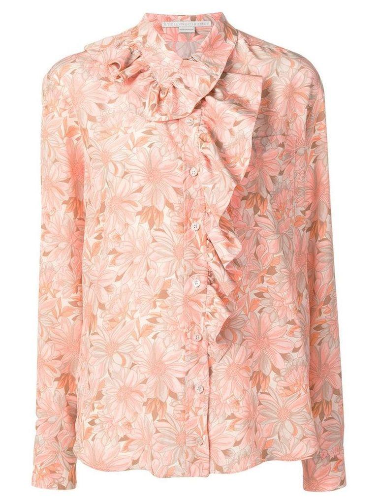 Stella McCartney ruffled floral print shirt - Orange