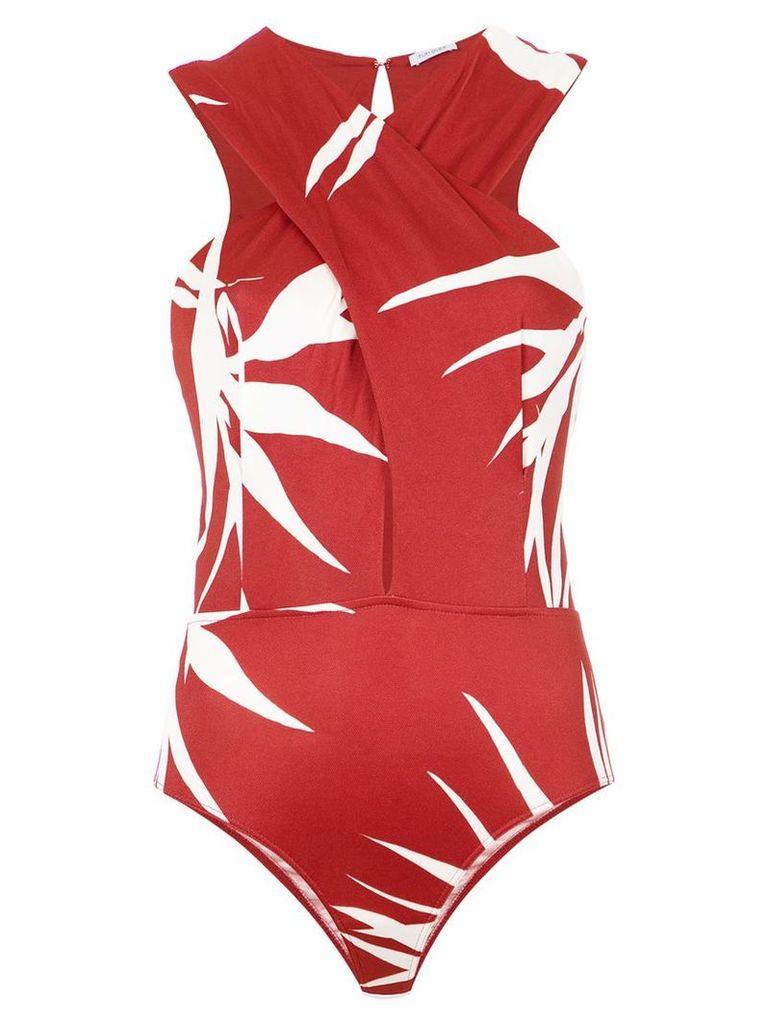 Tufi Duek wrap neck bodysuit - Red