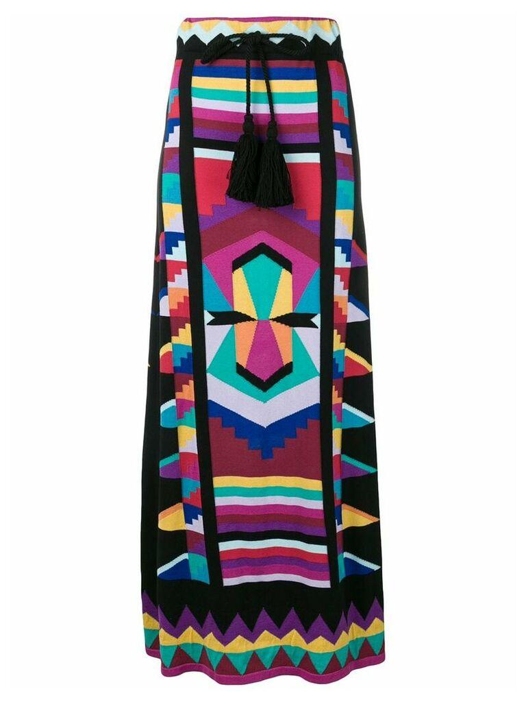 Laneus geometric colour-block maxi skirt - Black