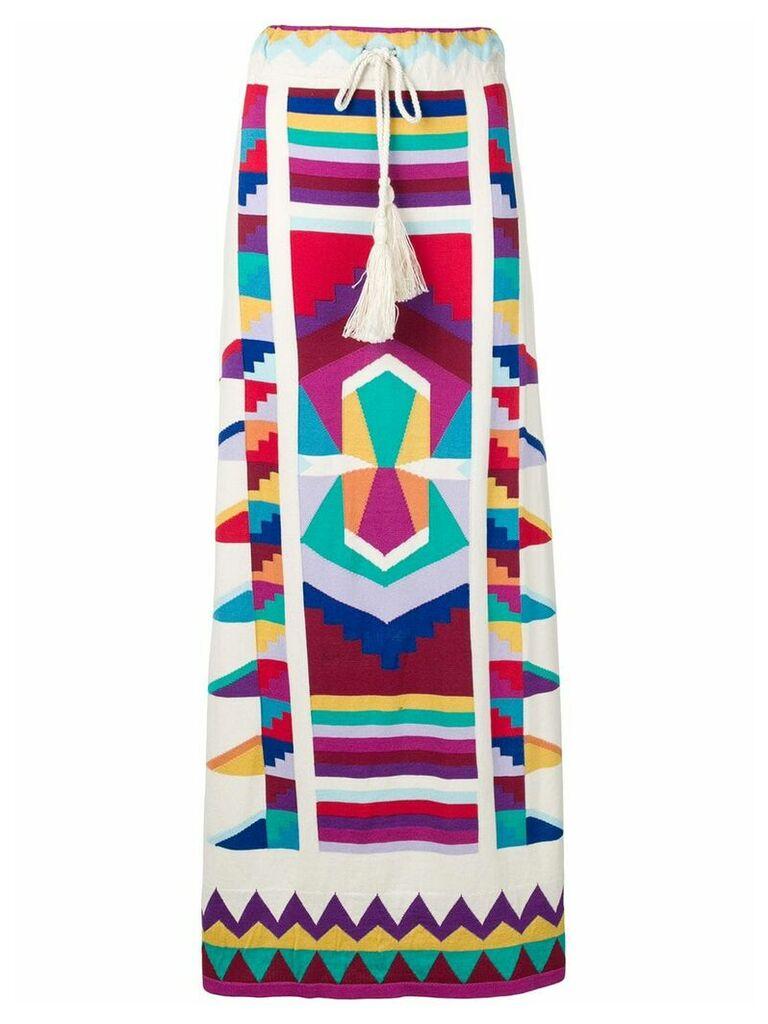 Laneus colour-block maxi skirt - White