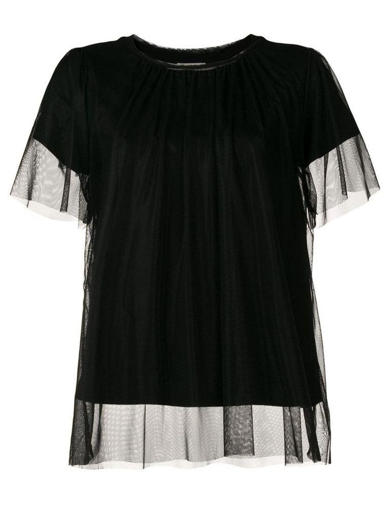 Semicouture mesh overlay T-shirt - Black