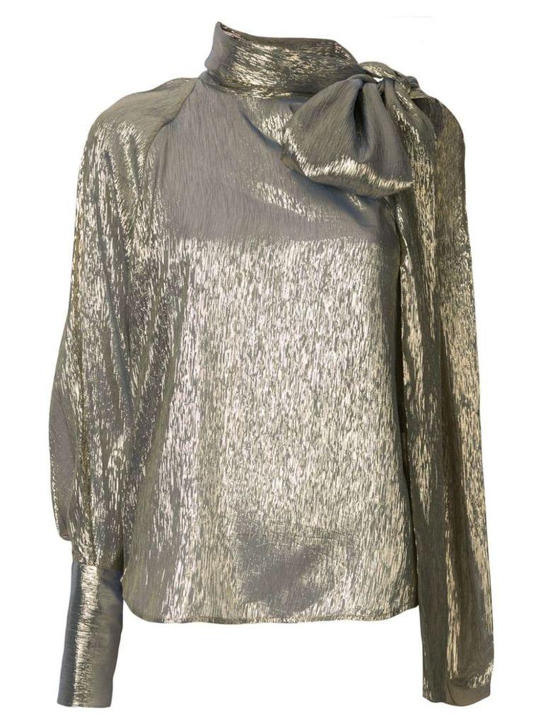 Petar Petrov Bray metallic one sleeve blouse - Gold