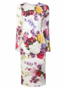 Dolce & Gabbana floral print pencil dress - White