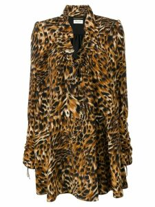 Saint Laurent leopard print mini dress - Brown