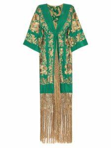 Johanna Ortiz Contigo En La Distancia fringed silk kimono - Green