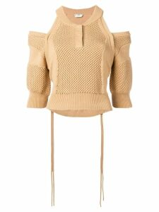 Fendi off shoulder knitted sweater - Neutrals