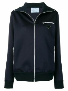 Prada logo patch track jacket - Blue