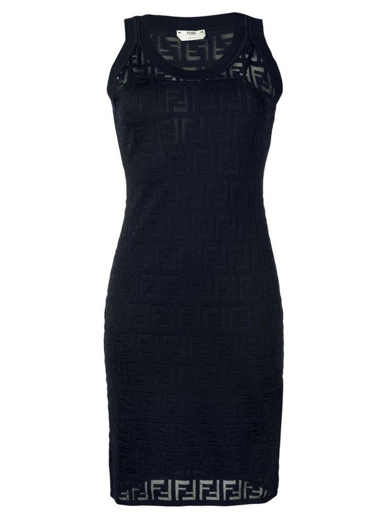 Fendi FF motif knitted dress - Blue