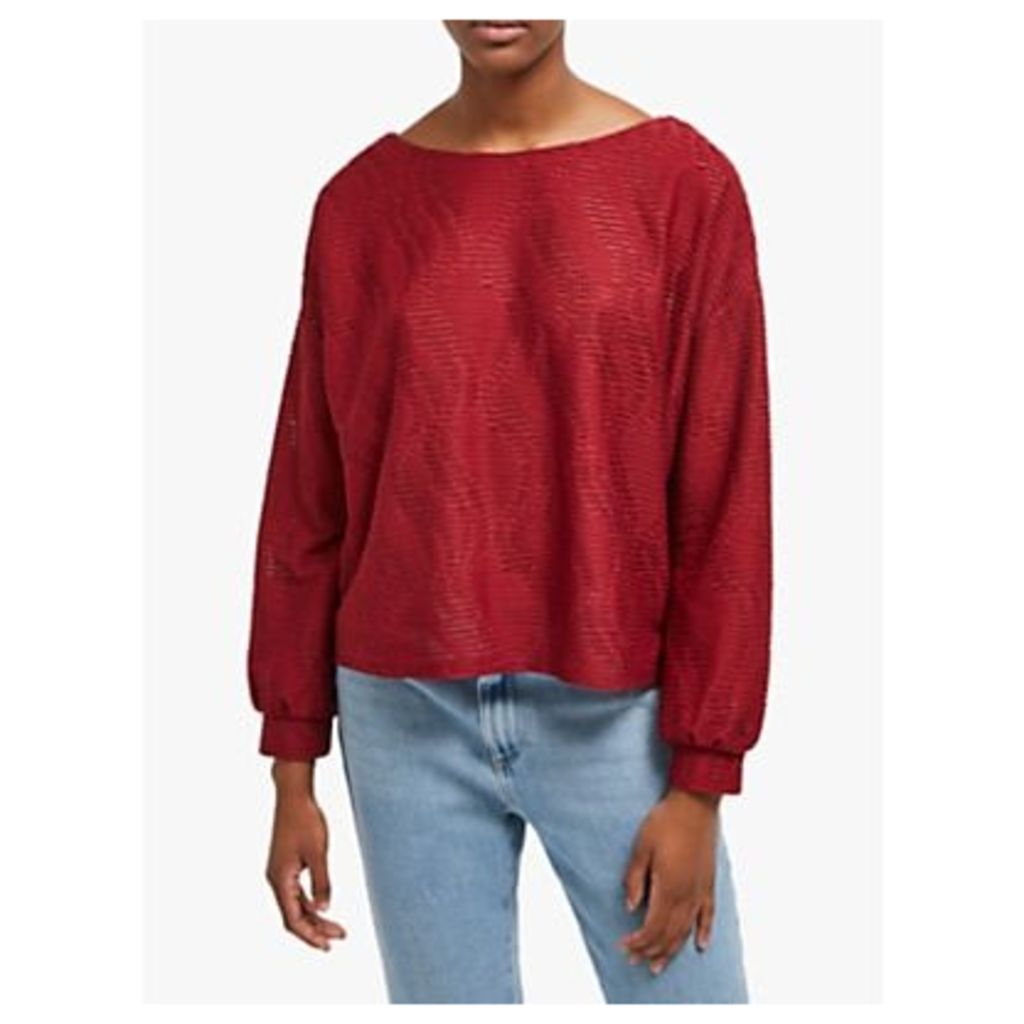 French Connection Tiarella Texture Jersey Top, Rosso Red