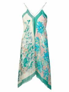 Semicouture floral print longline vest - Blue