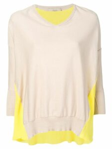 Maison Flaneur contrasted draped sweater - Neutrals
