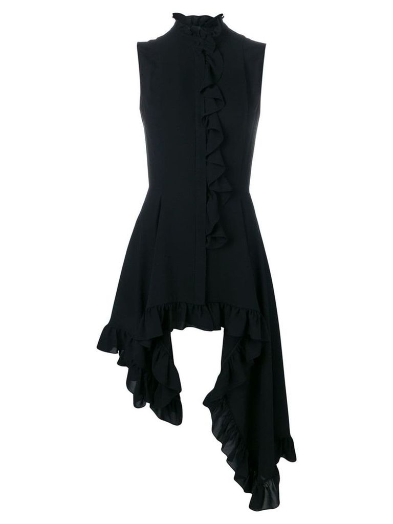 Alexander McQueen asymmetric ruffled top - Black