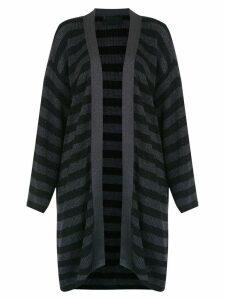 Andrea Bogosian striped cardicoat - Black