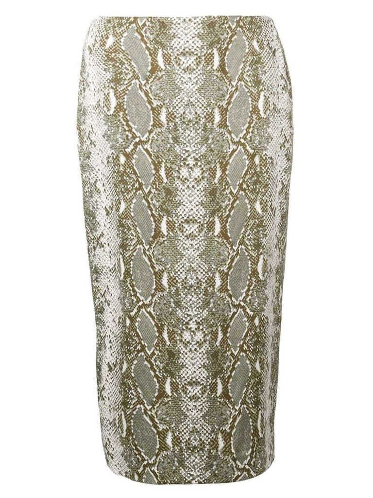 Dvf Diane Von Furstenberg snakeskin print pencil skirt - Green