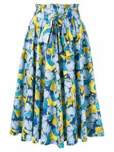 Pinko floral print ruffle skirt - Blue