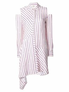 Pinko striped cold shoulder shirt dress - White