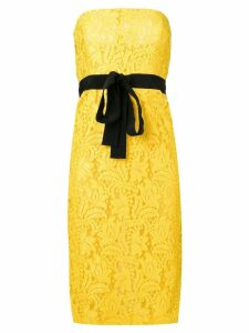 Brognano embroidered strapless dress - Yellow