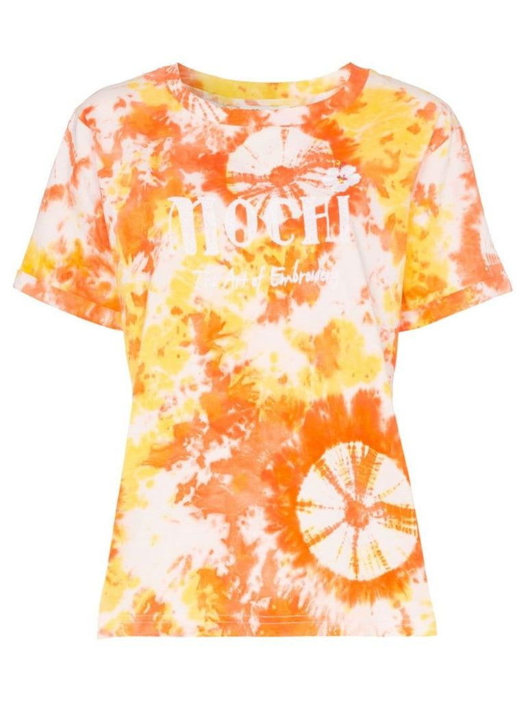 All Things Mochi logo embroidered tie-dye cotton T-shirt - Orange