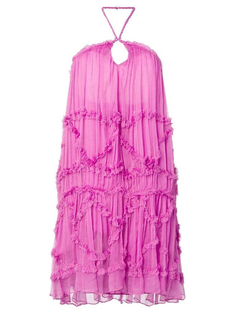 Just Cavalli halterneck flared dress - Purple