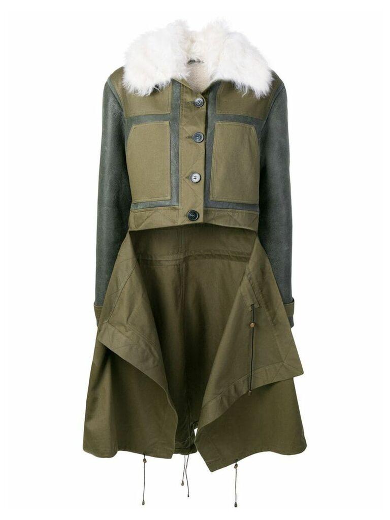 Monse patchwork shearling coat - Green