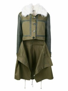 Monse patchwork shearling coat - Green
