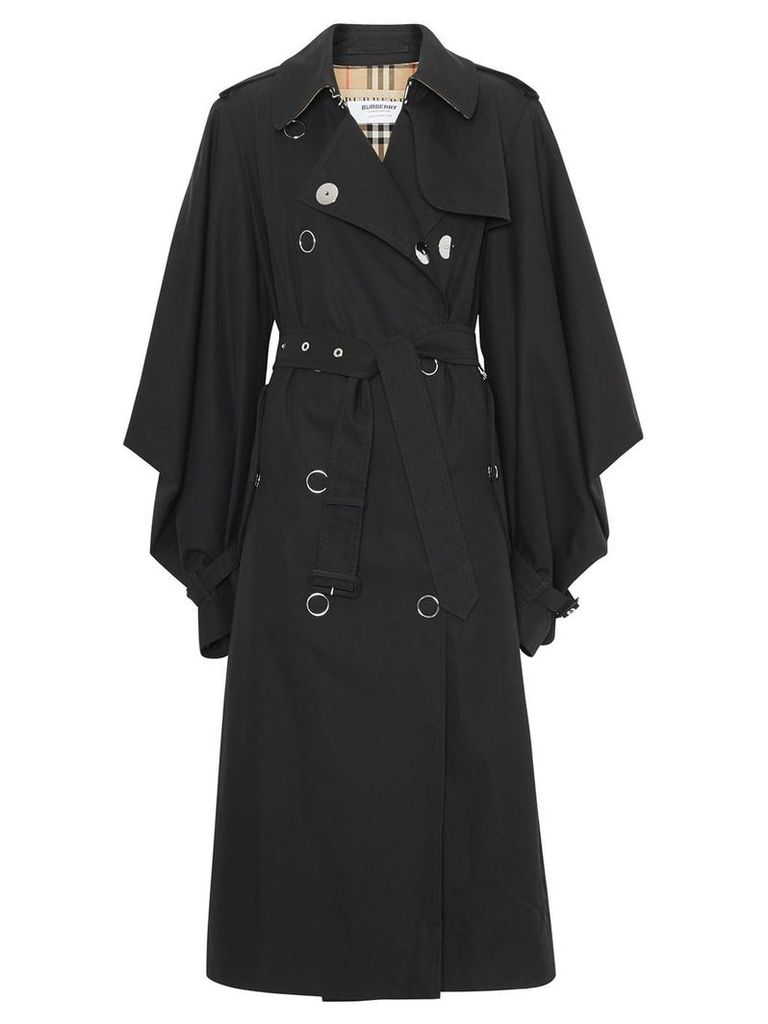 Burberry Cape Sleeve Gabardine Trench Coat - Black