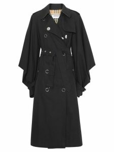 Burberry Cape Sleeve Gabardine Trench Coat - Black